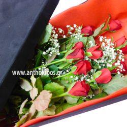 Τριαντάφυλλα κόκκινα σε μαύρο βελούδινο κουτί