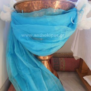Baptism For Boy with baptismal font decoration with fabric and teddy bears
