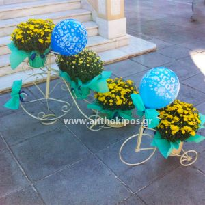 Baptism For Boy with bicycles, ribbons, balloons and chrysanthemum plants