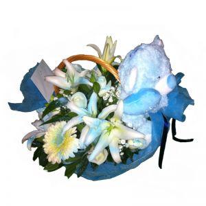 Σύνθεση λουλουδιών για νεογέννητο αγόρι