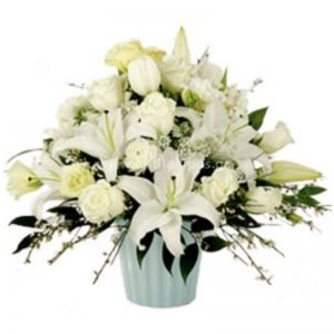 White flowers for funeral in basket