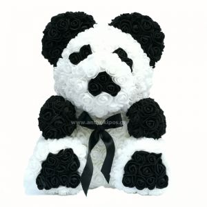 Rose Panda Bear with white and black roses