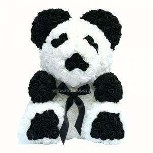 Rose Panda Bear με λευκά και μαύρα τριαντάφυλλα
