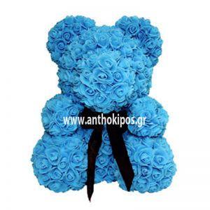 Rose Bear με θαλασσί τριαντάφυλλα (40cm)