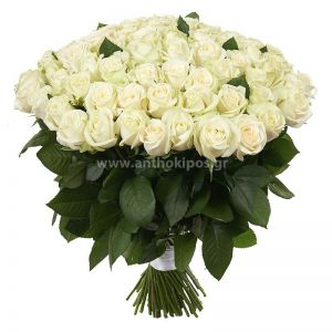101 white roses in bouquet