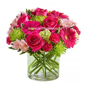 Fuchsia bouquet in glass vase