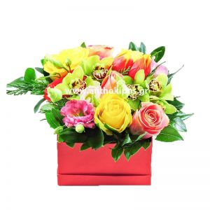 Roses and orchids in red square box