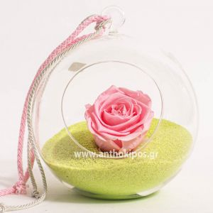 Glass ball with pink rose that lives for ever