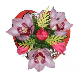 Lovely heart with orchids and roses