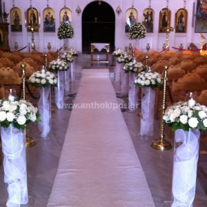 Indoor Wedding Decoration with white compositions