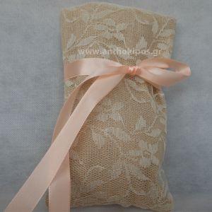 Μπομπονιέρες Γάμου με πουγκί από λινάτσα και δαντέλα