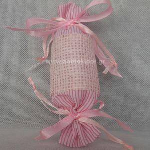 Μπομπονιέρα Βάπτισης καραμελίτσα σε ροζ απόχρωση
