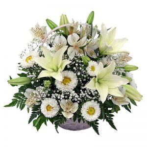 Flower arrangement in white shade for funeral