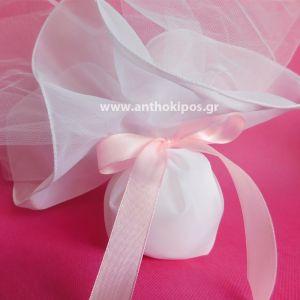 Μπομπονιέρες Γάμου, μπομπονιέρα κλασική με μαντήλι οργάντζας