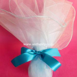 Μπομπονιέρες Γάμου, μπομπονιέρα κλασική με γαλάζια οργάντζα και τούλι