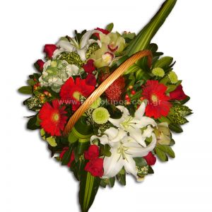 Flower arrangement in white-red color