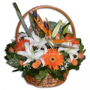 Flower arrangement in basket with handle, in white-orange shade