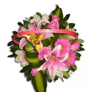 Flower arrangement in fuchsia shade