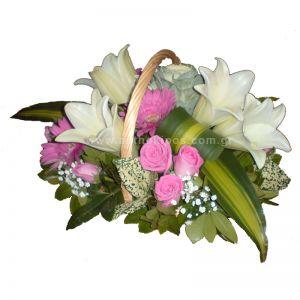 Flower arrangement in white-fuchsia shade