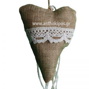 Μπομπονιέρες Γάμου καρδιά από λινάτσα
