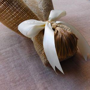 Μπομπονιέρες Γάμου, μπομπονιέρα με λινάτσα και φουντίτσα