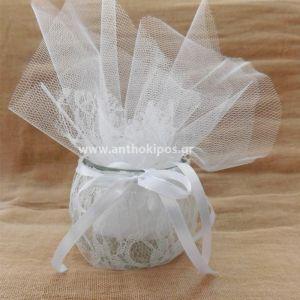 Μπομπονιέρα Γάμου, ιδιαίτερη, μοναδική με γυάλινο-δαντελένιο ποτ για ρεσώ