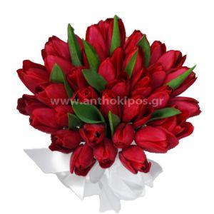 Μπουκέτο Γάμου με κόκκινες τουλίπες