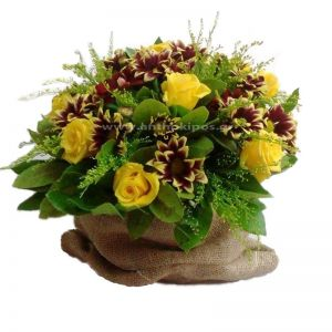 Flower Arrangement in burlap sack