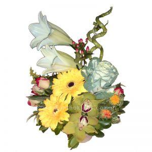 Flower arrangement in ceramic pot