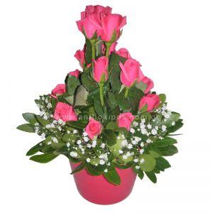 Φούξια τριαντάφυλλα σε πήλινο βάζο