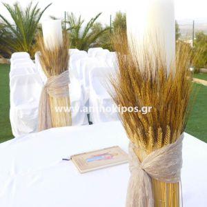 Λαμπάδες Γάμου με στάχυα