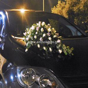 Στολισμός Αυτοκινήτου Γάμου με μοναδική σύνθεση σε λευκό και λιλά