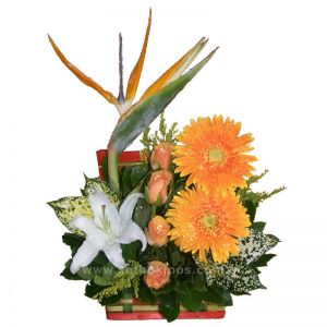 Flower Arrangement in trunk, in orange shades