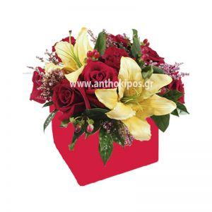 Happy flower arrangement in red square box
