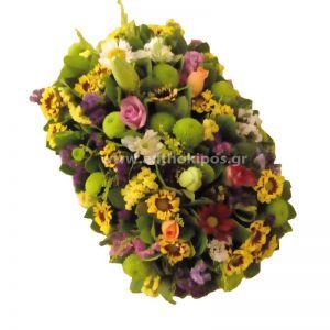 Rectangular flower arrangement for table