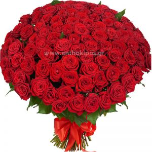 101 red roses in bouquet