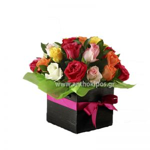 Colorful roses in black square box
