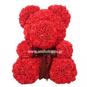 Rose Bear με κόκκινα τριαντάφυλλα (25cm)