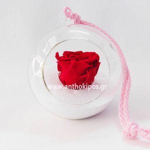 Γυάλινη μπάλα με κόκκινο τριαντάφυλλο που ζει για πάντα