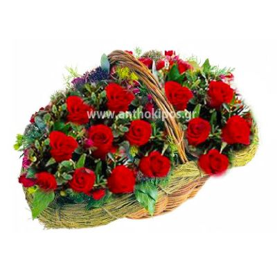 Red paradise in basket