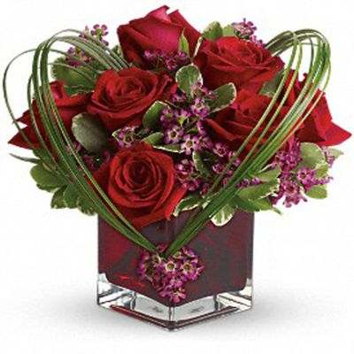 Red Roses in Glass with Import Folliages