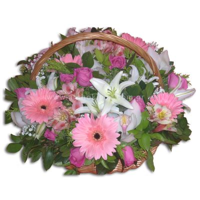 Flower Arrangement in white-fuchsia color in basket with handle