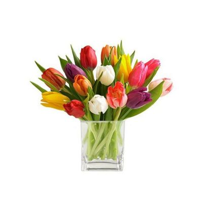 Bouquet with tulips in glass vase