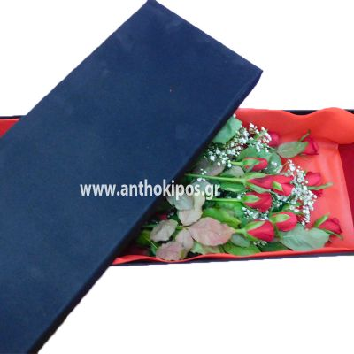 Red roses in black velvet box