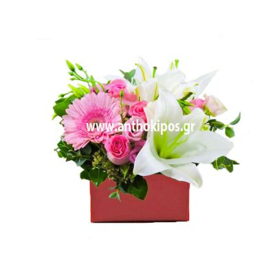Different flowers in red square box
