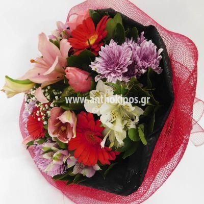 Πανέμορφο μπουκέτο με φρέσκα λουλούδια