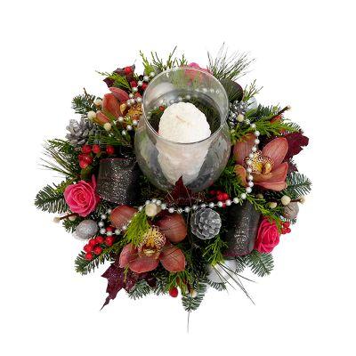 Χριστουγεννιάτικη-Πρωτοχρονιάτικη σύνθεση, εντυπωσιακή με κερί και λαμπόγυαλο